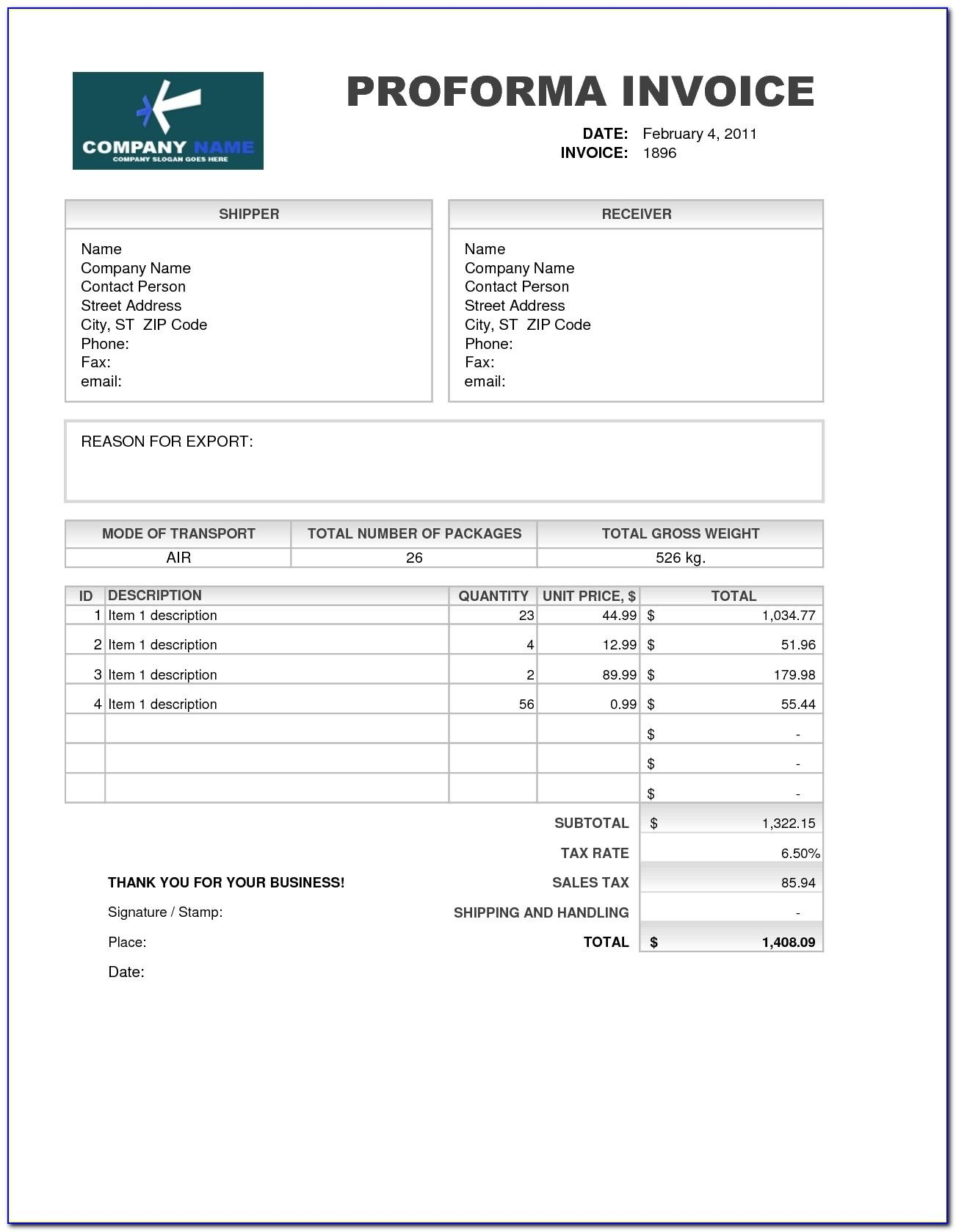 Template Invoice Excel Download Free