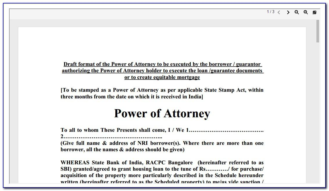 Template Of General Power Of Attorney India