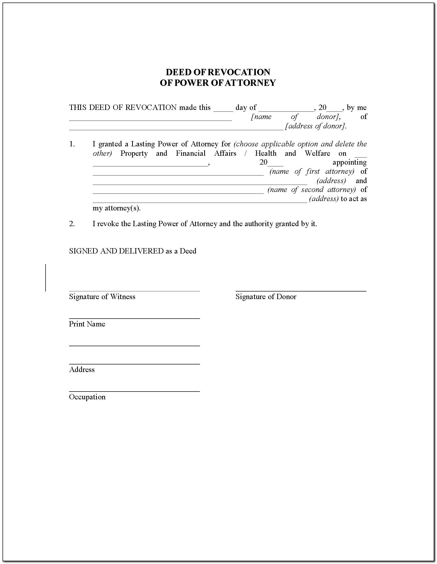 Template Power Of Attorney Letter Free