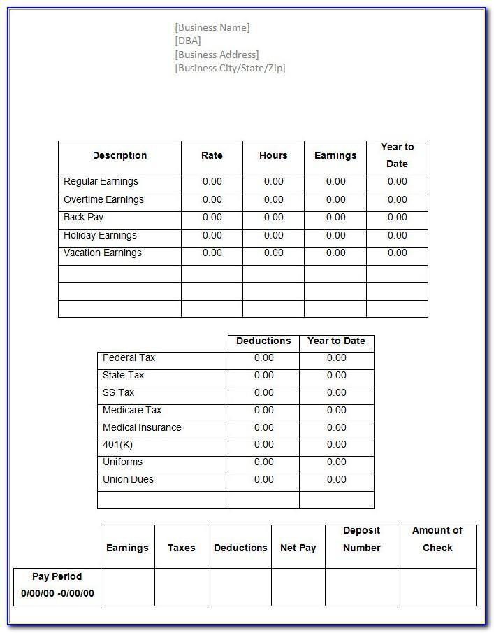 Template Printable Pay Stub