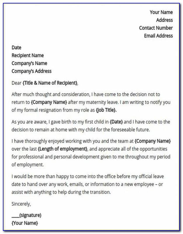 Template Resignation Letter 2 Week Notice