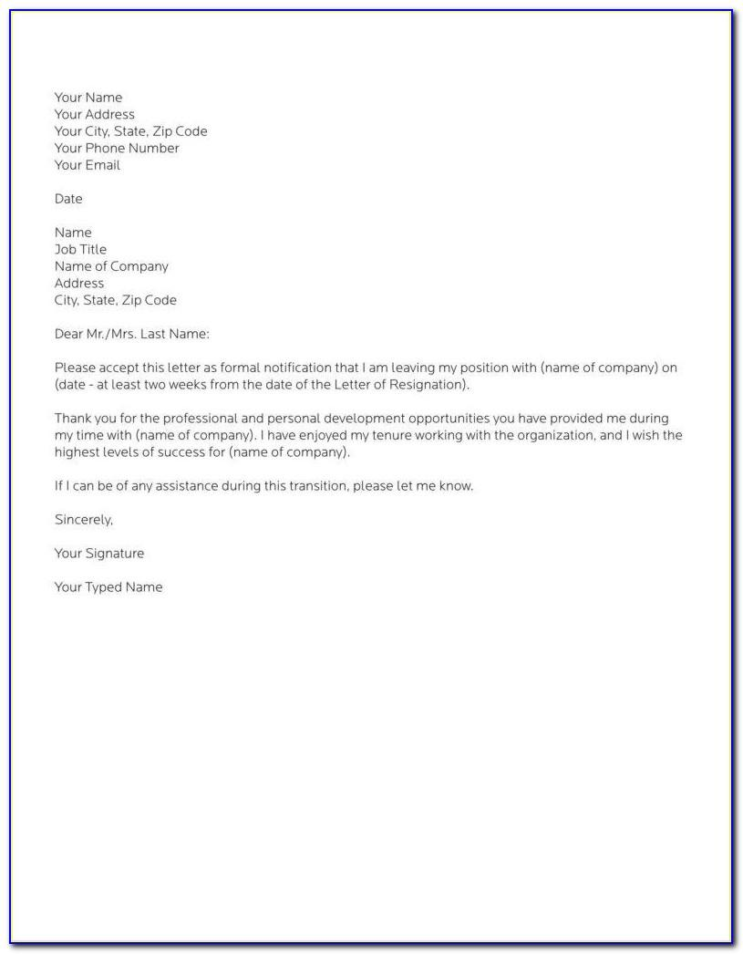 Template Resignation Letter Example
