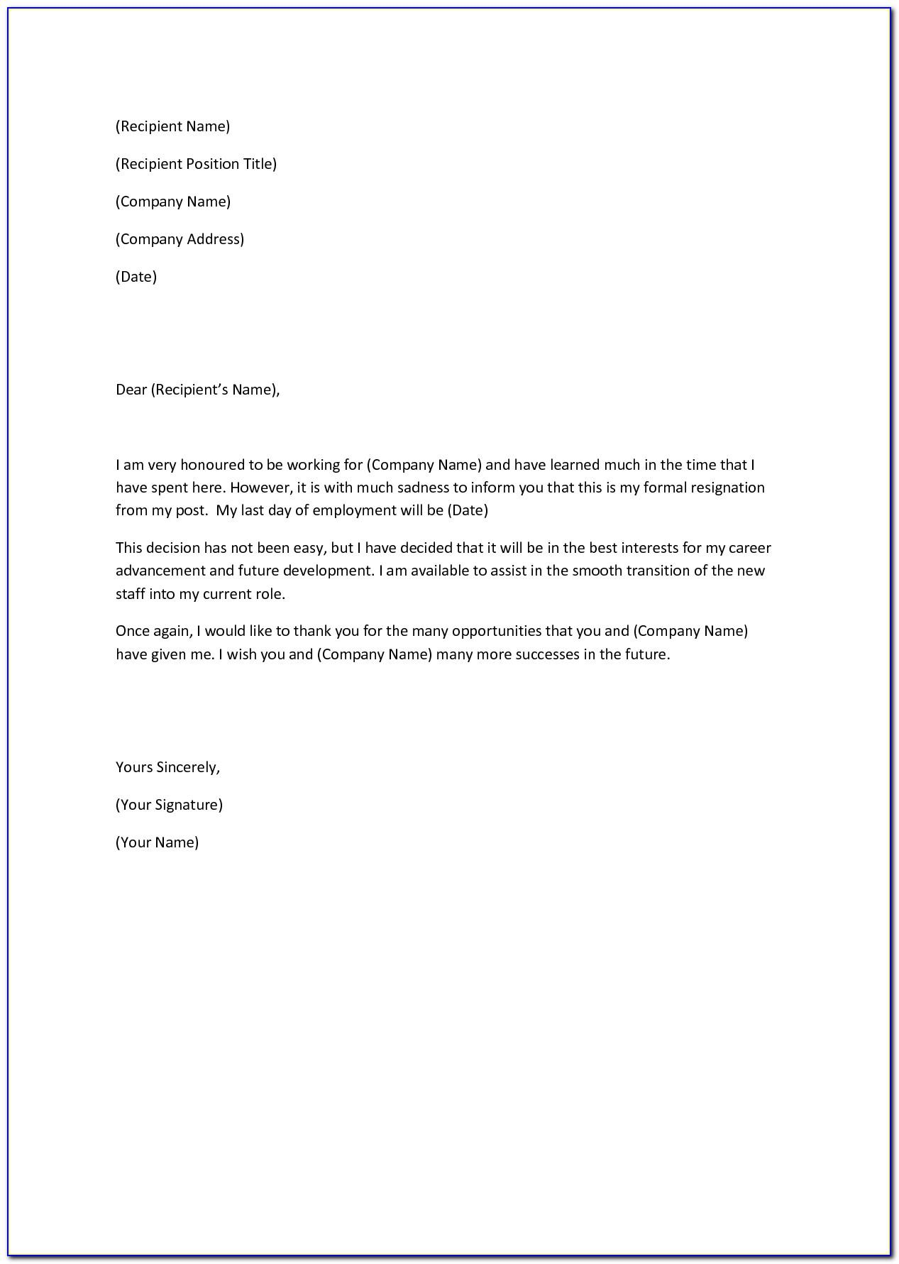 Template Resignation Letter Sample