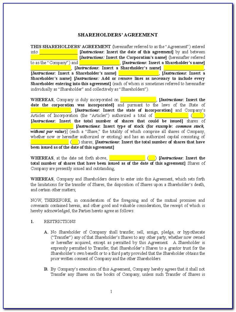 Template Shareholders Agreement Australia