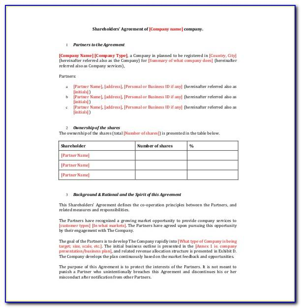 Template Shareholders Agreement India