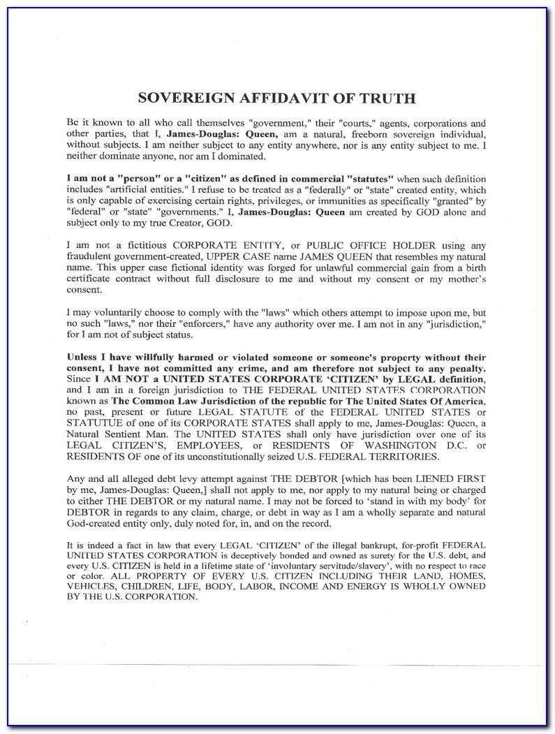 Template Sworn Affidavit South Africa