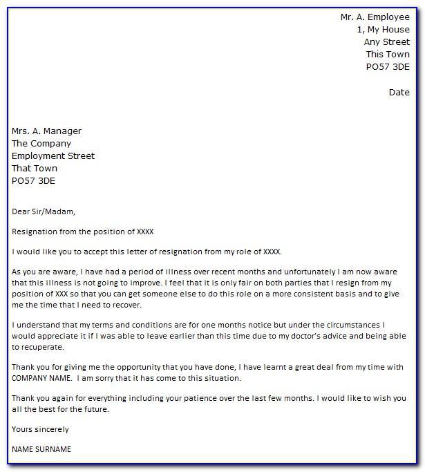 Template Teacher Resignation Letter Uk