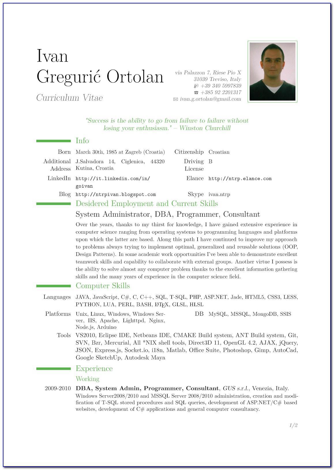 Templates Curriculum Vitae Indesign