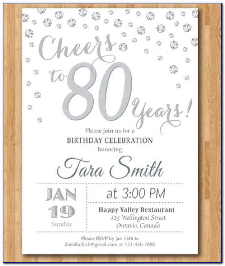 Templates For 80th Birthday Invitations