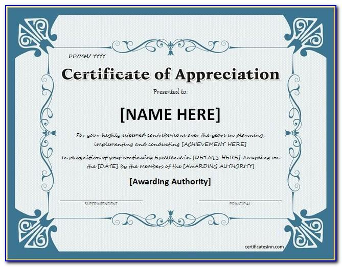 Templates For Certificate Of Appreciation In Powerpoint