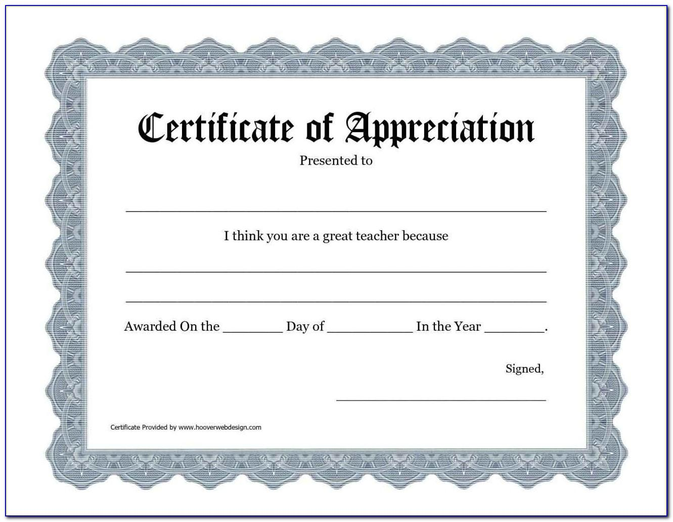 Templates For Certificates Of Appreciation Free