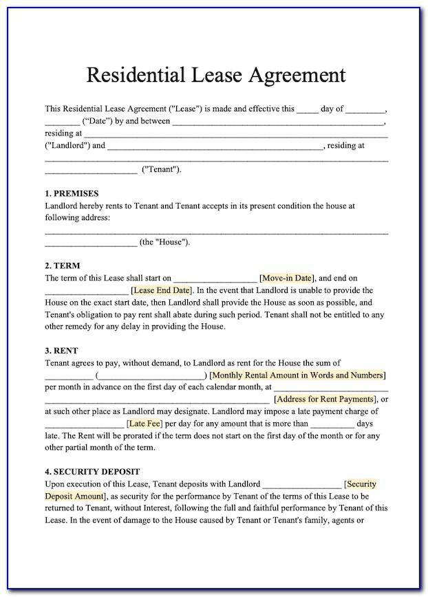 Templates For Residential Lease Agreements