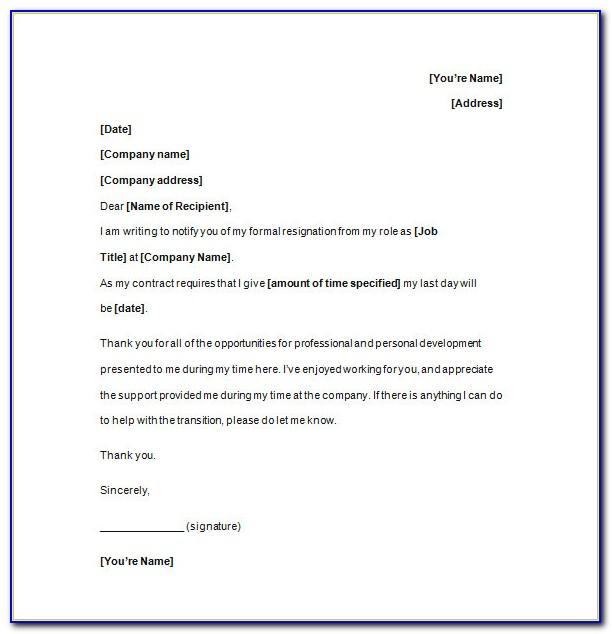 Templates For Resignation Letter Uk