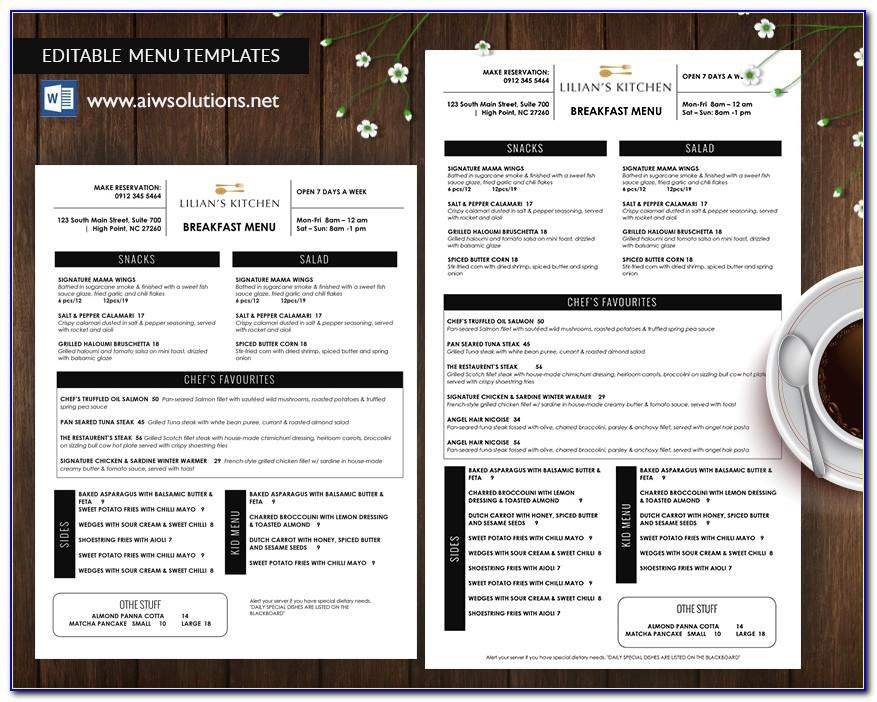 Templates For Restaurant Menu