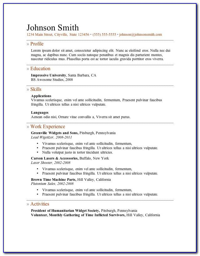 Templates For Resumes Free Downloads
