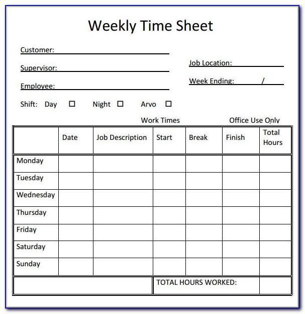 Templates For Weekly Time Sheets