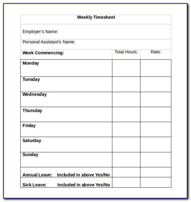 Templates For Weekly Timesheets