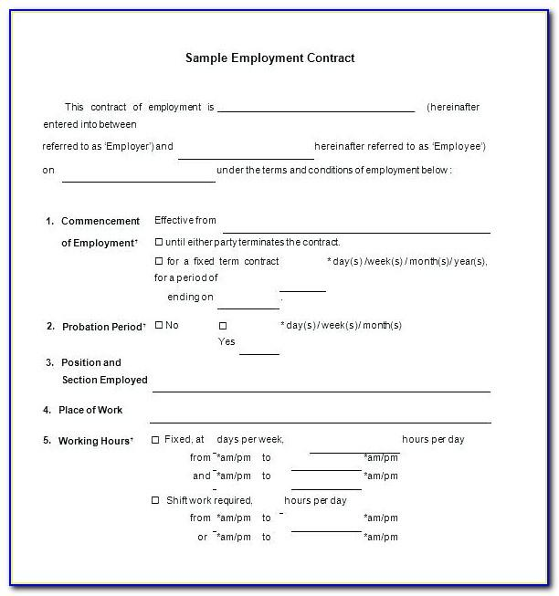 Temporary Employment Contract Template Free Download Uk