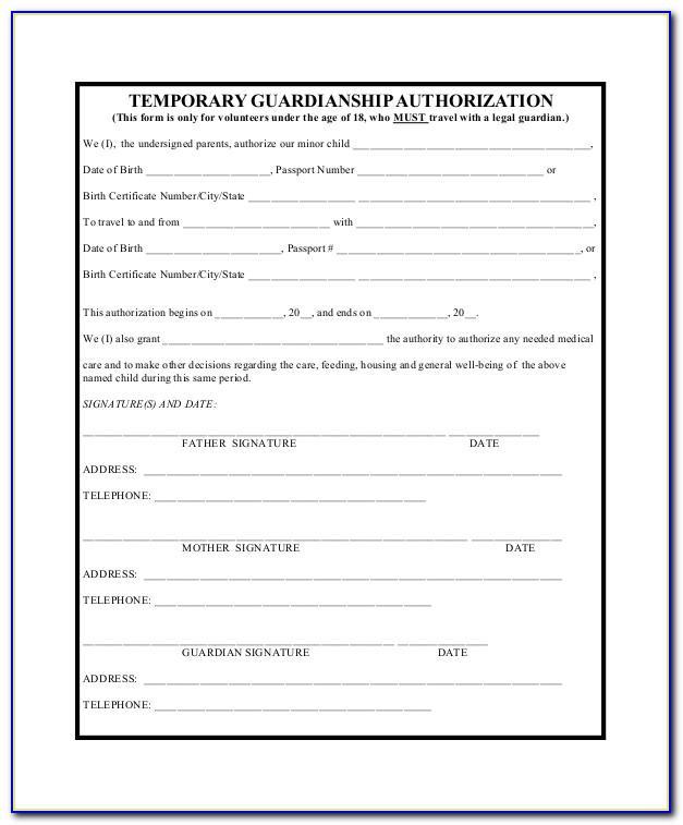 Temporary Guardianship Form California Pdf