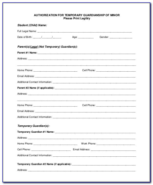 Temporary Guardianship Form For School Enrollment Texas