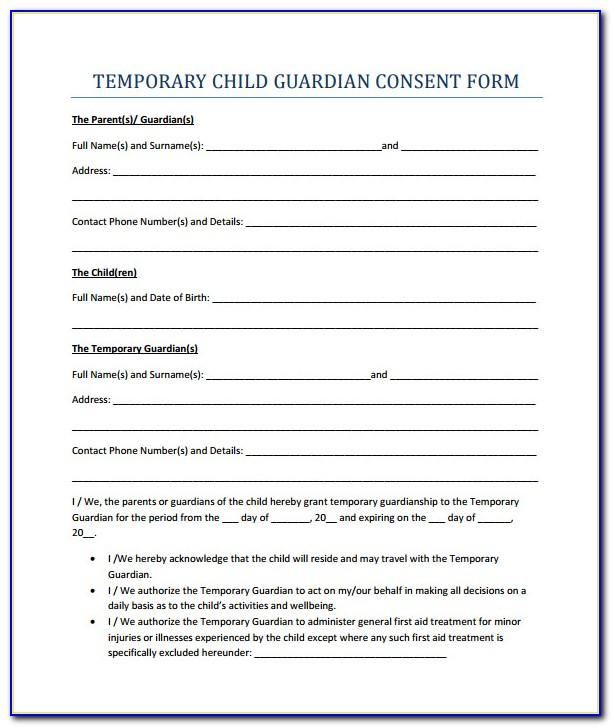 Temporary Guardianship Form Template