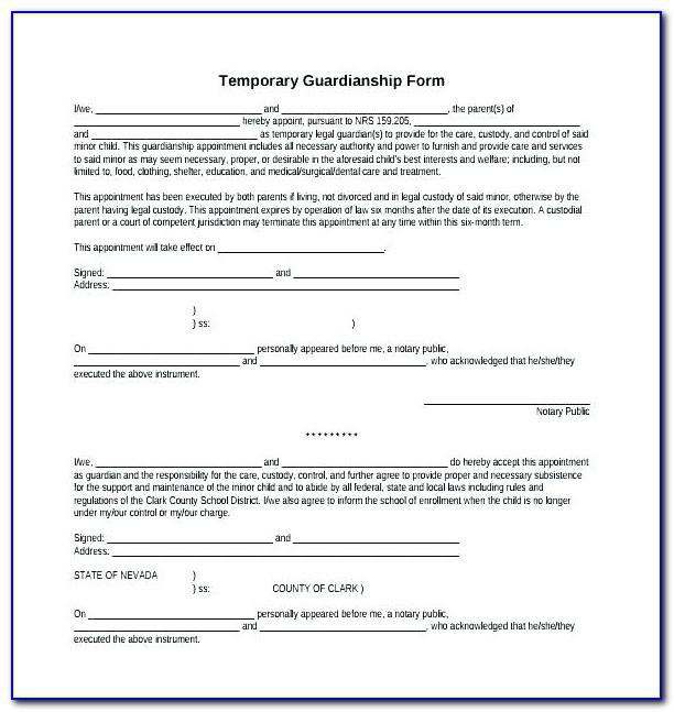 Temporary Guardianship Forms California
