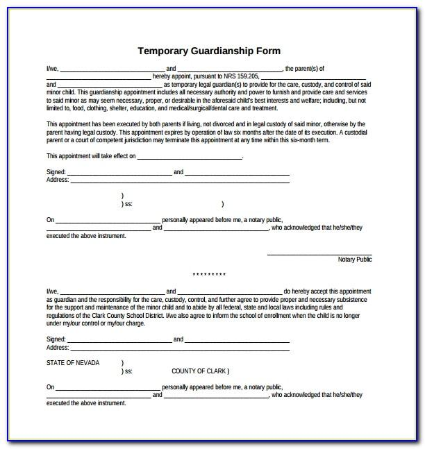 Temporary Guardianship Letter Example