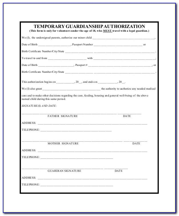 Temporary Guardianship Template Forms