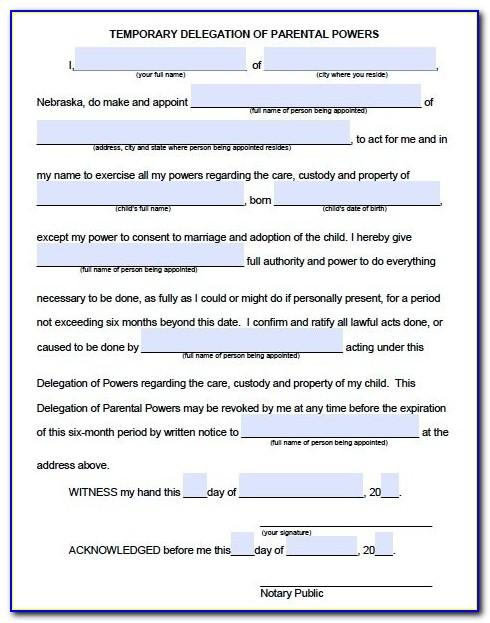 Temporary Power Of Attorney Form For Child