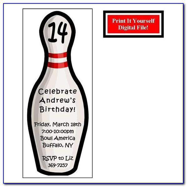 Ten Pin Bowling Party Invitation Template