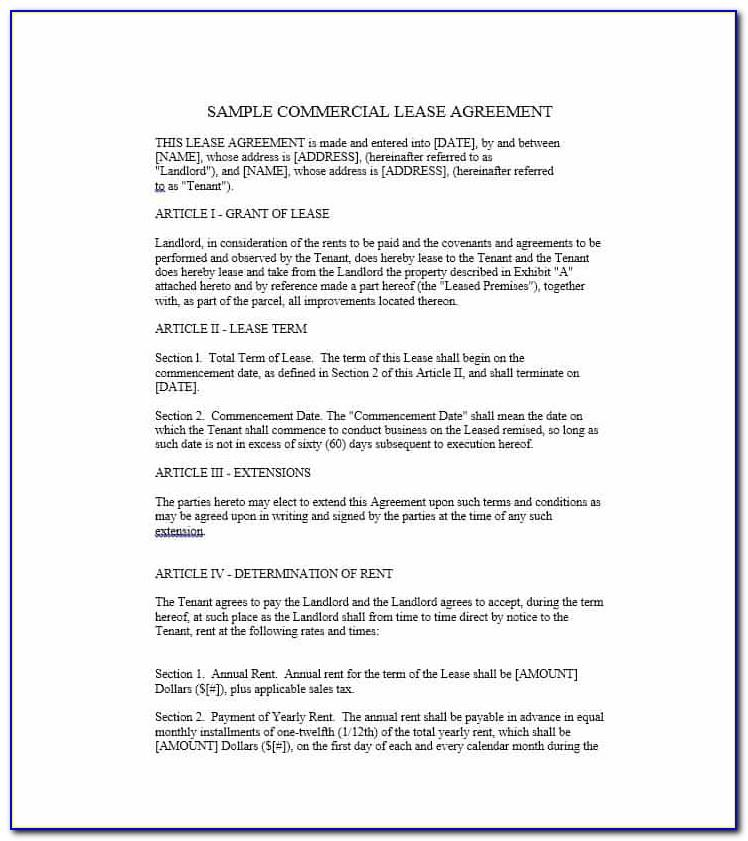 Tenancy Agreement Commercial Property Template