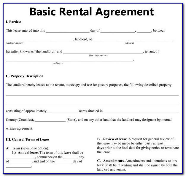 Tenancy Agreement Form Example