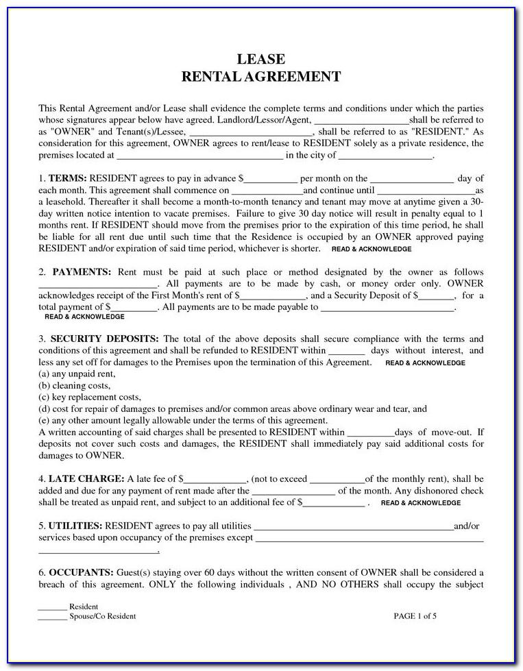 Tenancy Agreement Form Samples