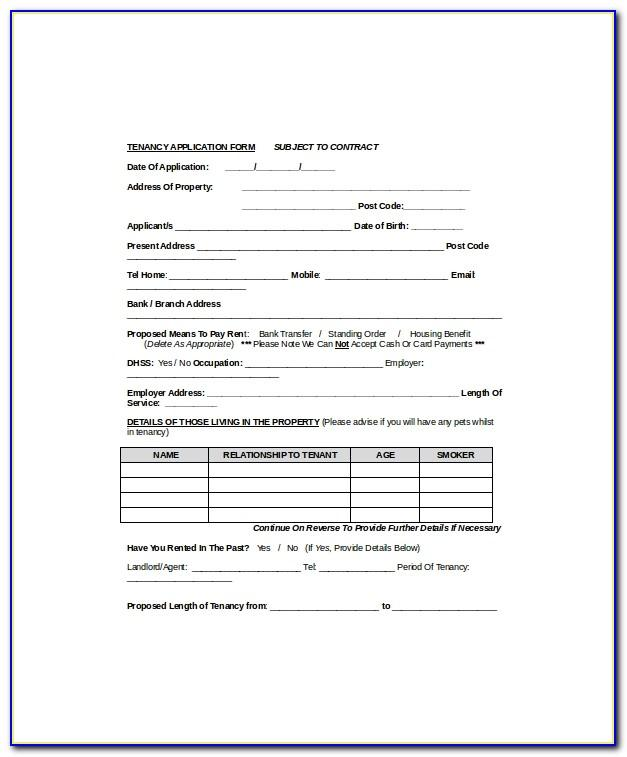 Tenancy Agreement Form Template Uk