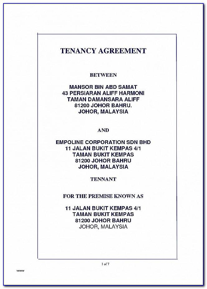 Tenancy Agreement Renewal Template Malaysia