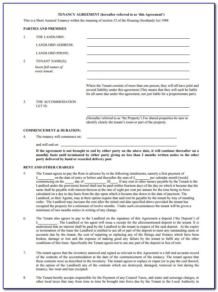Tenancy Agreement Template Free Pdf