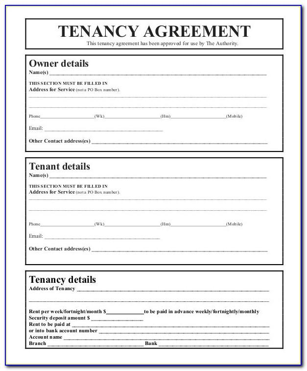Tenancy Agreement Template Free Word