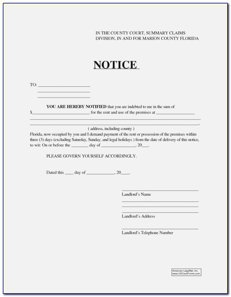 Tenant 30 Day Notice To Vacate California Sample
