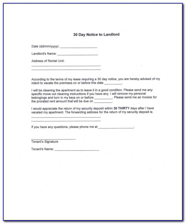Tenant 30 Day Notice To Vacate Sample Letter