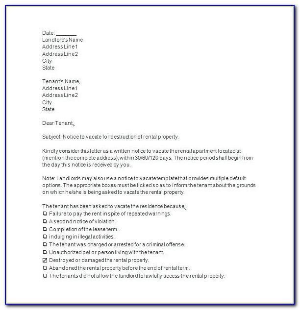 Tenant 60 Day Notice To Vacate Template