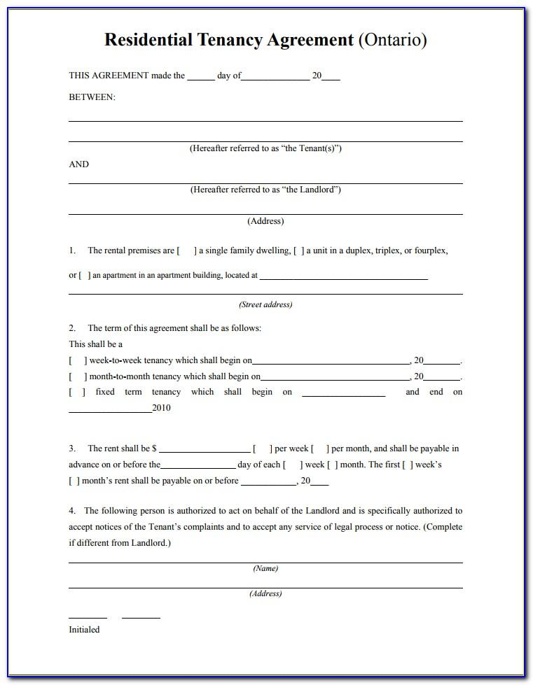 Tenant Agreement Contract Sample