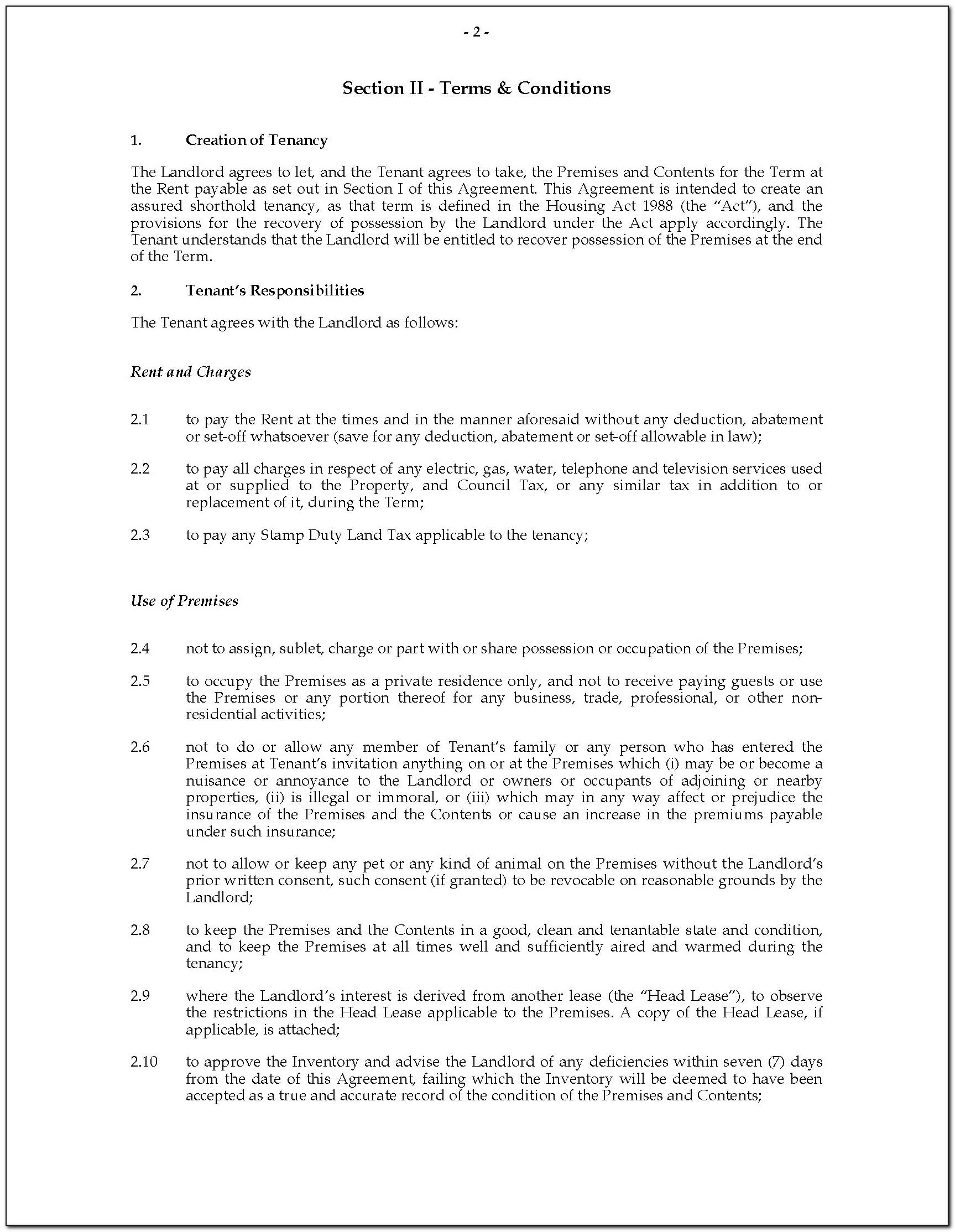 Tenant Agreement Template Pdf