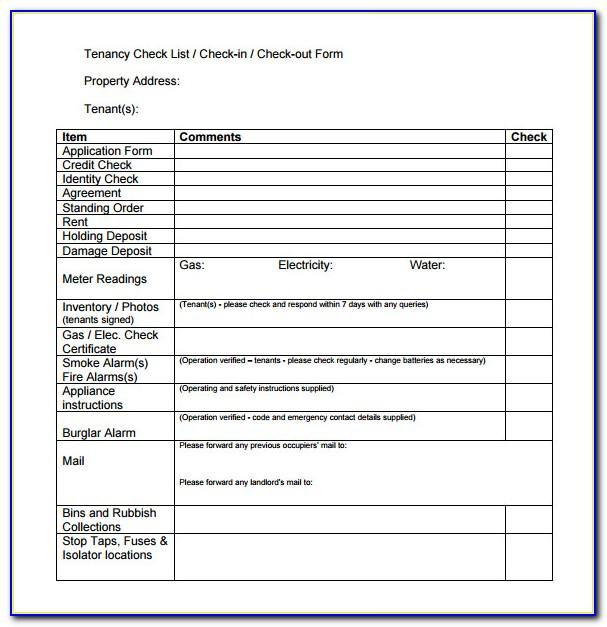 Tenant Checkout Form Template