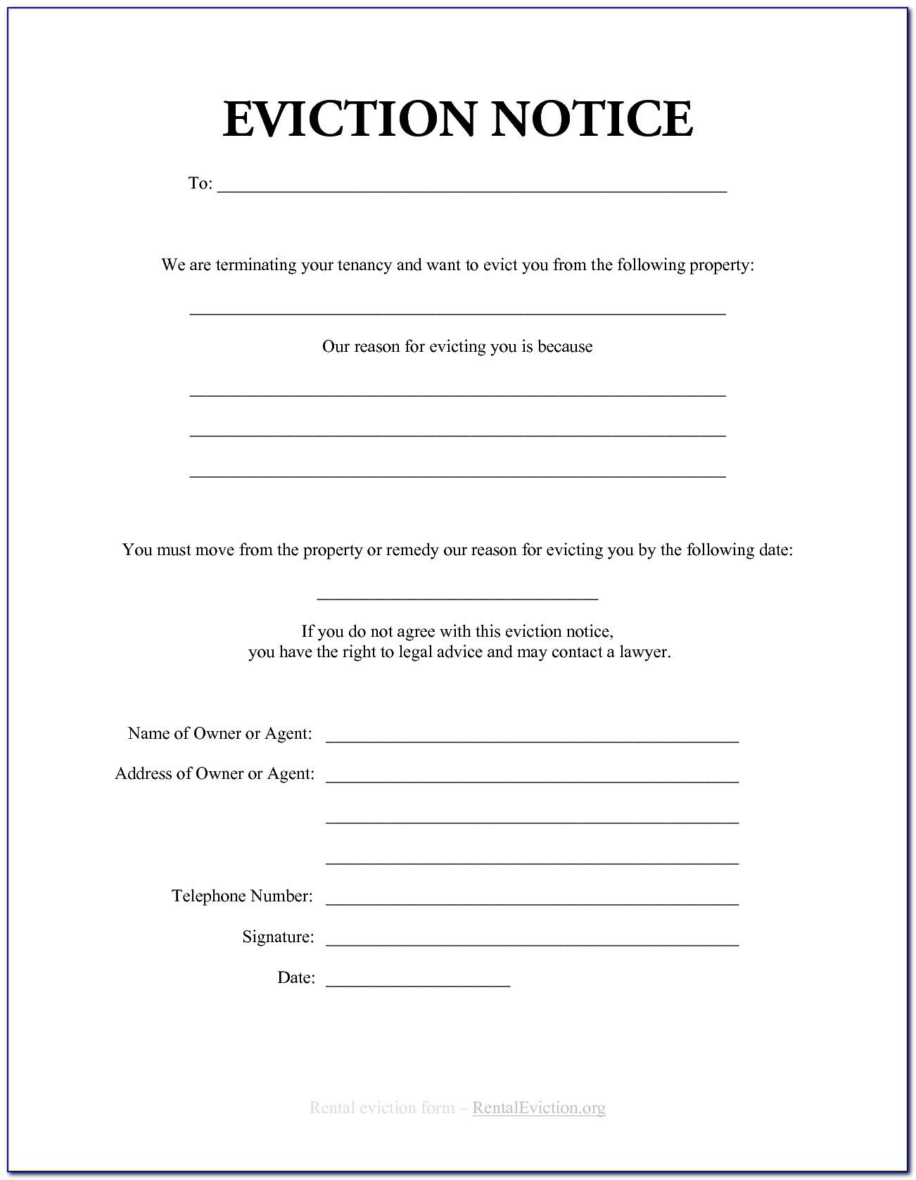 Tenant Eviction Notice Form Alberta