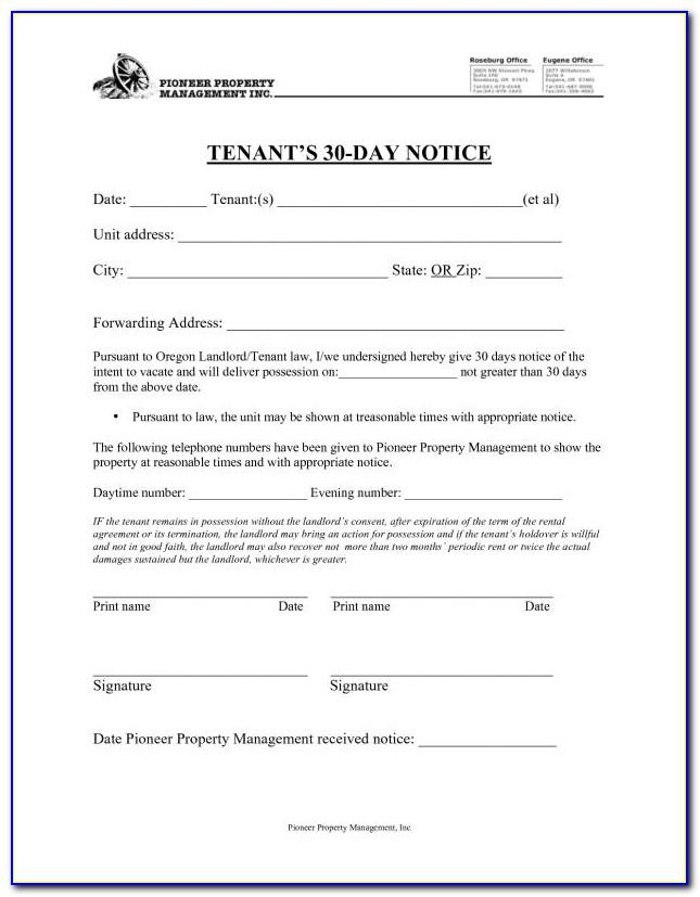 Tenant Eviction Notice Sample