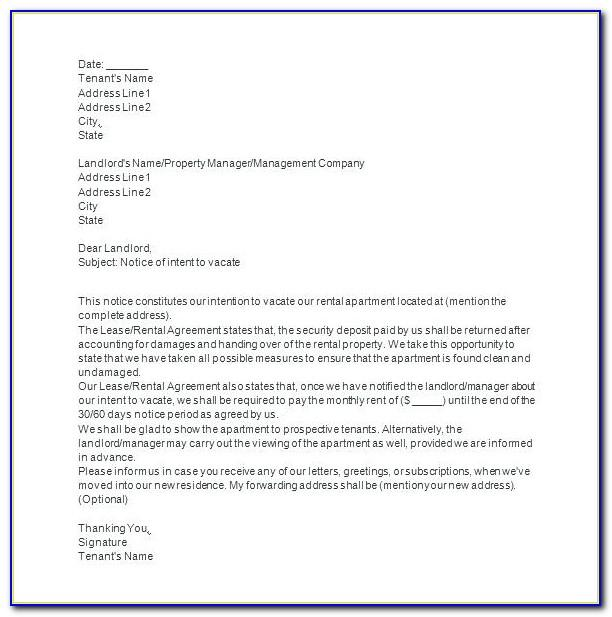 Tenant Giving Notice To Vacate Template