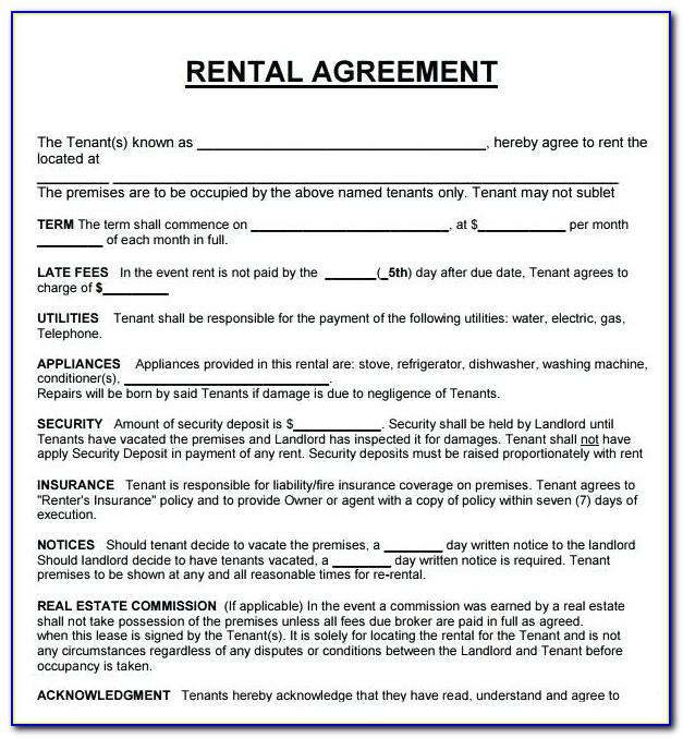 Tenant Lease Agreement Pdf