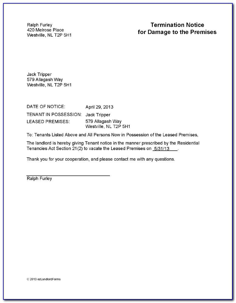 Tenant Lease Termination Notice Sample