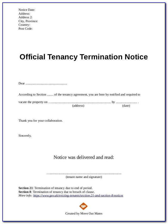 Tenant Lease Termination Notice Template