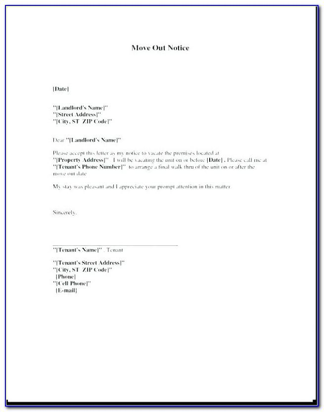 Tenant Move Out Form Template